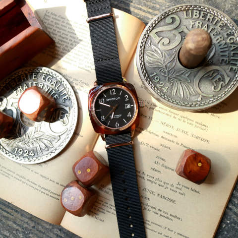 「CLUBMASTER CLASSIC」 HMS DATE TORTOISE SHELL & ROSE GOLD PVD WITH BLACK DIAL 【BRISTON】